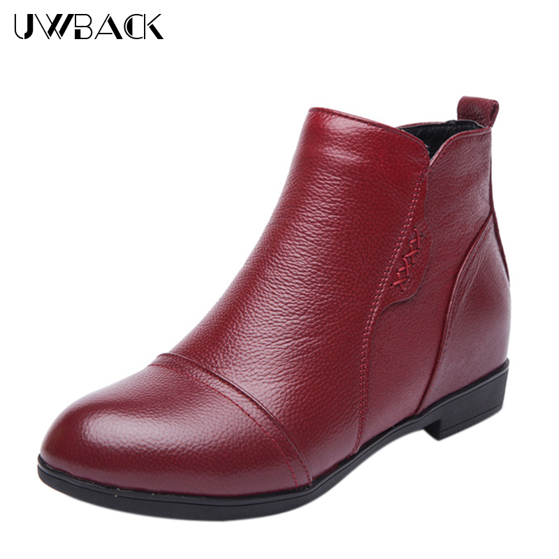ФОТО High Quality 2017 New Winter Genuine Leather Shoes Women Height Increased Plush Ankle Shoes Soft Plus Size Martin Boots  XJ204