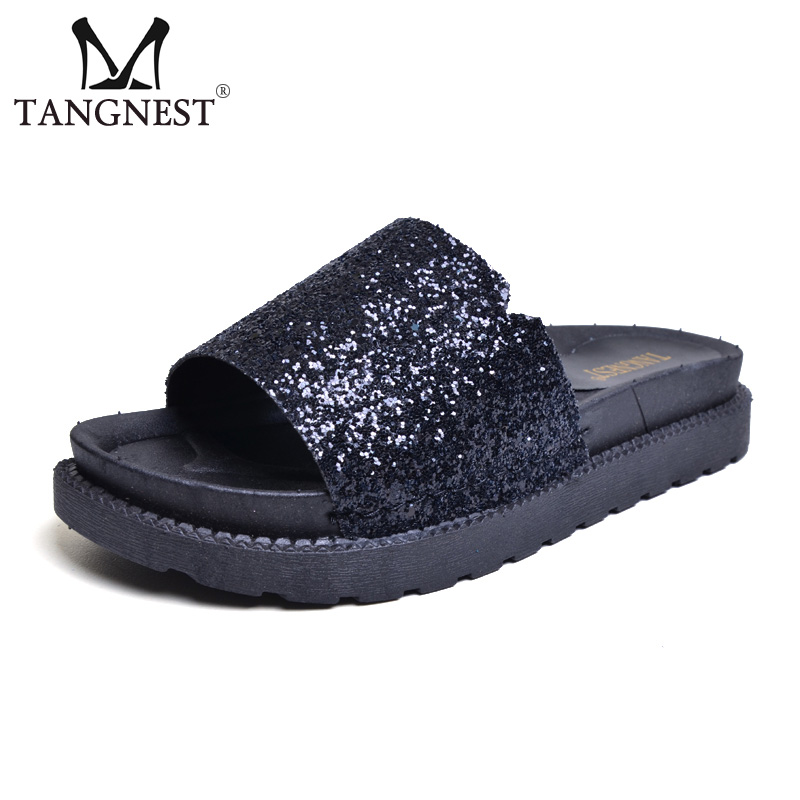 Tangnest Glitter Slippers Women NEW Summer Style Bling Flats Casual Platform Beach Shoes Women Slides Shoes Size 35~40 XWT792 gold sliver shoes woman for 2016 new spring glitter bling pointed toe flats women shoes for summer size plus 35 40 xwd1841