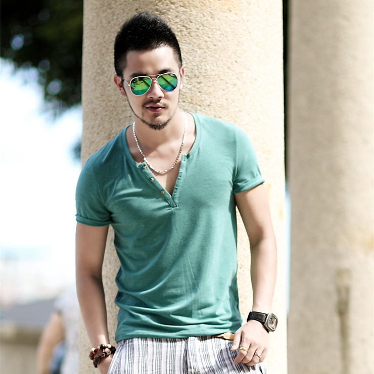 Buy 2015 men 39 s t shirt v neck mandarin for Men s fashion casual t shirts