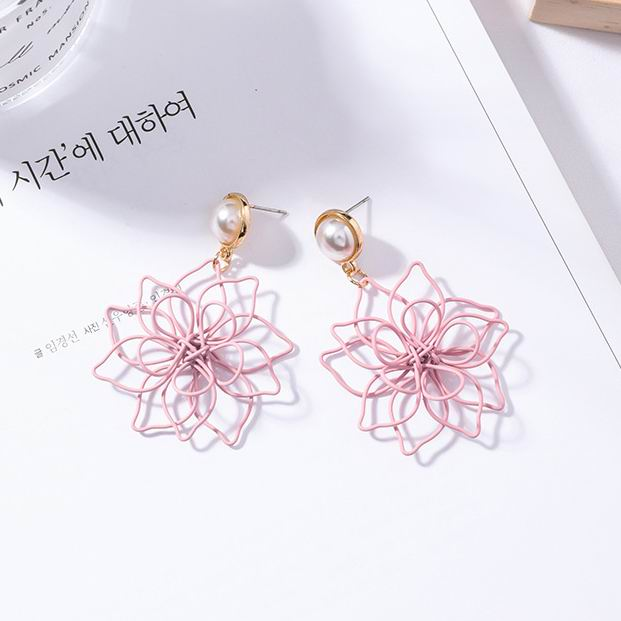 New Trendy Pink Purple Hollow Metal Flower Drop Earrings For Women 2018 Fashion Jewelry Handmade Weave Statement Dangle Earings