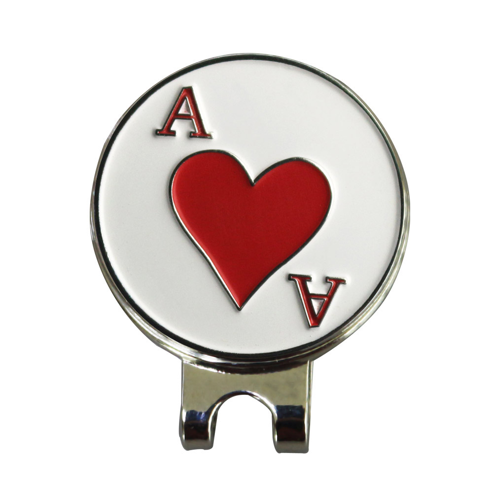 PINMEI Ace Of Red Heart Golf Ball Mark With Magnetic Golf Hat ClipS Sets Silver Color Blank Cap Clip And Golf Marker Sets