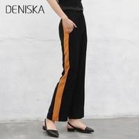 DENISKA 2018 Kobiety Długie Spodnie Na Co Dzień Styl Boczne Pas Pomarańczowy Paski Szwy Proste Czarne Spodnie Luźne Spodnie Przypadkowy