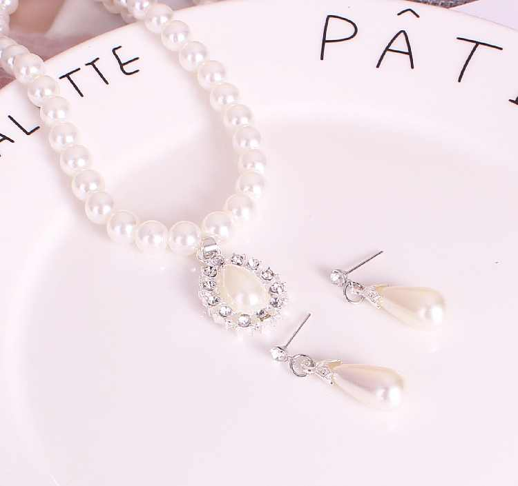 2019 Fashion Austrian Crystal Water Drop Bead Chain Chokers Necklace/Earrings Jewelry Set For Women Bride Tears Wedding Party