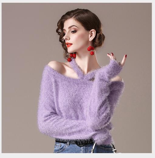 Off light Nouveau De Chandails Casual Yellow Manteaux Femme purple Femmes Chandail Mode Longues Tricoté Manches Pull épaule Automne Vêtements Solide 2018 Blue wxW4qqnY