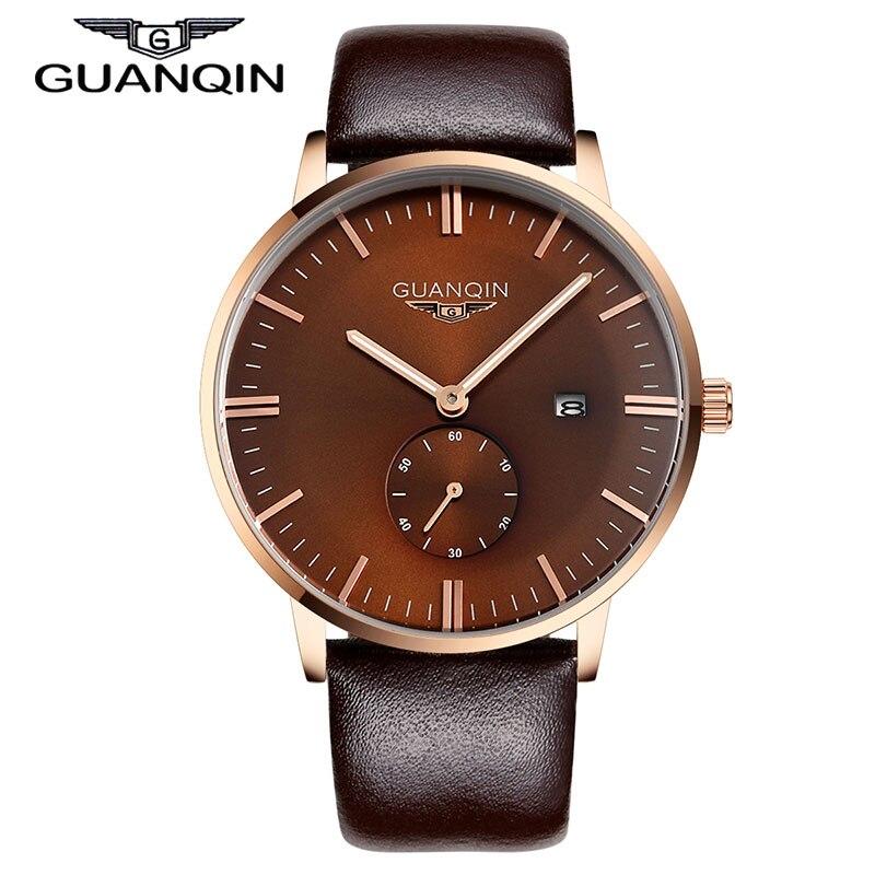 Watches Men Original GUANQIN Fashion Quartz Luxury Brand Casual Watches Leather Strap 100m Waterproof Men Wristwatch relogio