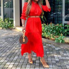 Summer Sweet Elegant Party Plus Size Casual Women Midi Dresses Red Aline Plain 2019 Travel Beach Boho African Fashion Dress