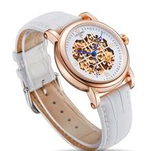 OUYAWEI Female Clock Kadin Saat Skeleton Dial Ladies Mechanical Watch Rhinestone Wristwatch 42mm Big Case relojes mujer