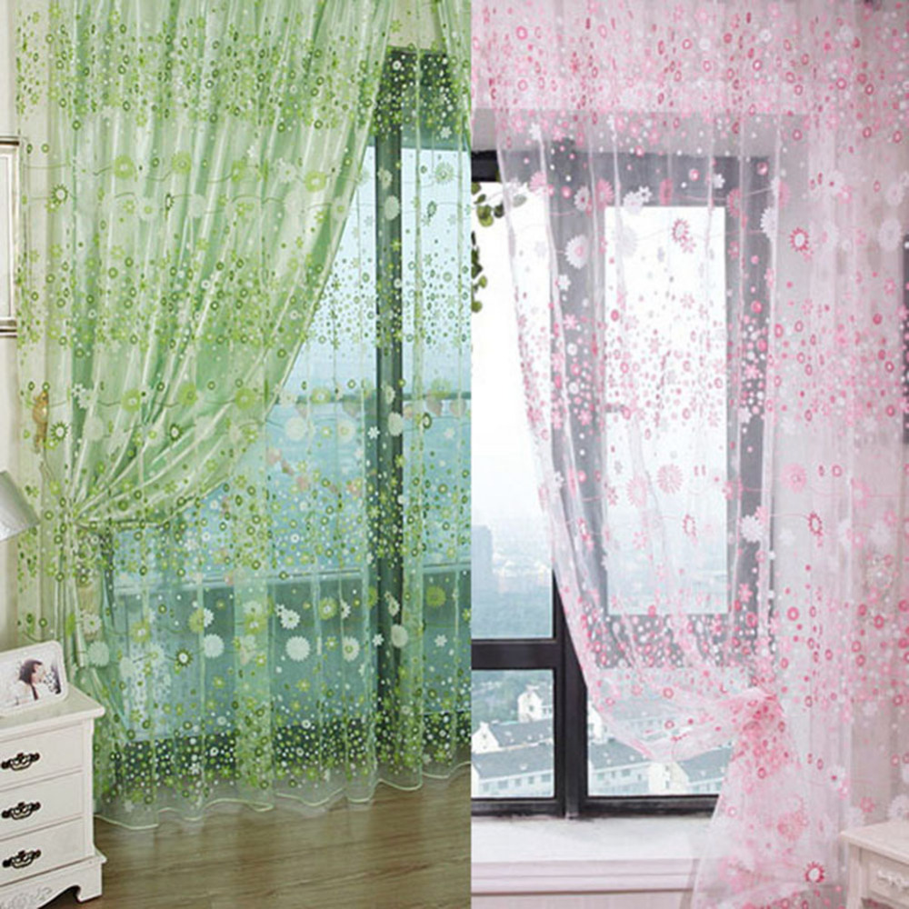 Window Curtain Green And Pink Floral Pattern Voile Window Curtain Drape Panel Sheer Scarf Valances100*200CM/100*280CM 1Pcs