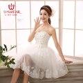 2017 Wedding Dress Cheap Short Knee-Length Bridal Dress Vestidos De Novia Beach White Wedding Dress with Sexy Lace Applique
