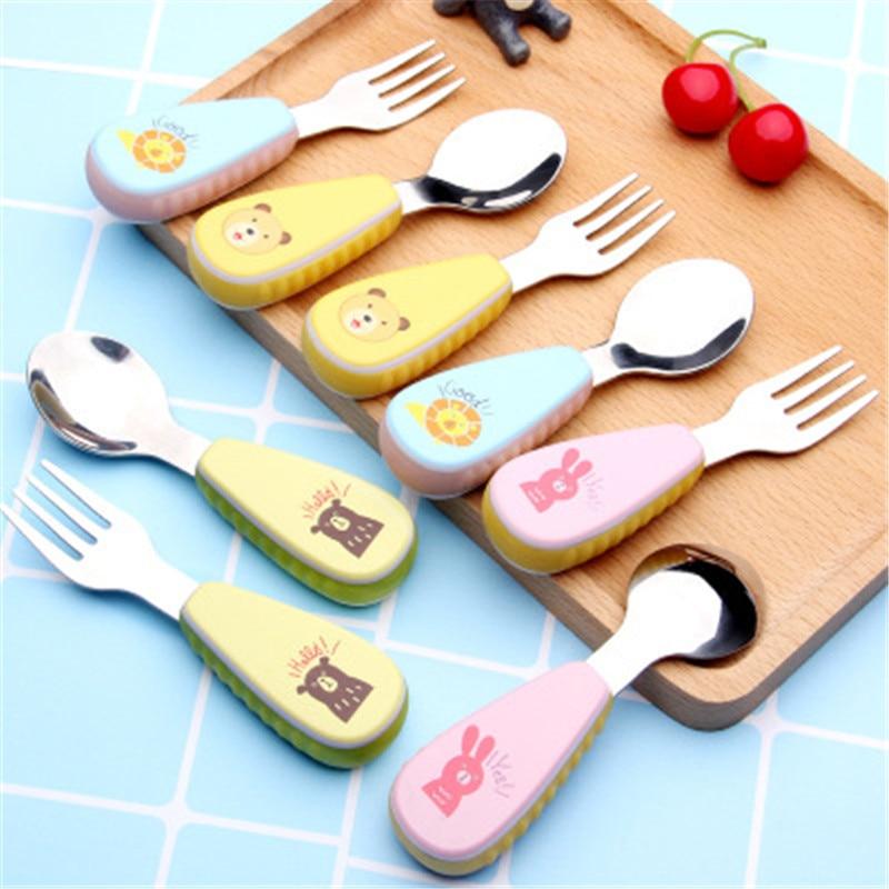 Ideacherry Baby Cartoon Spoon Fork Set Infant Feeding Fork Spoon Tableware Set Kid Creative Food Dinnerware Soft Handle Utensils