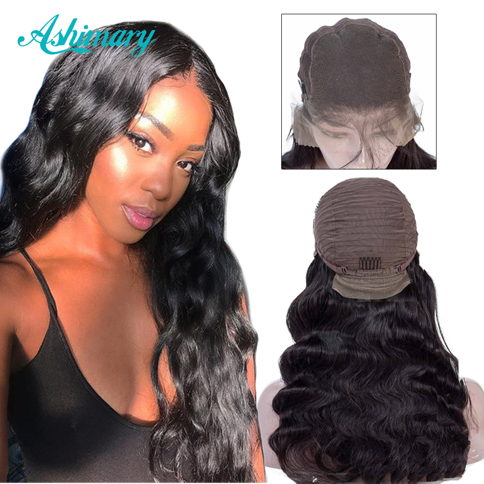 Ashimary Wigs Human-Hair-Wigs Lace-Frontal Body-Wave Brazilian-Hair Pre-Plucked 13x6