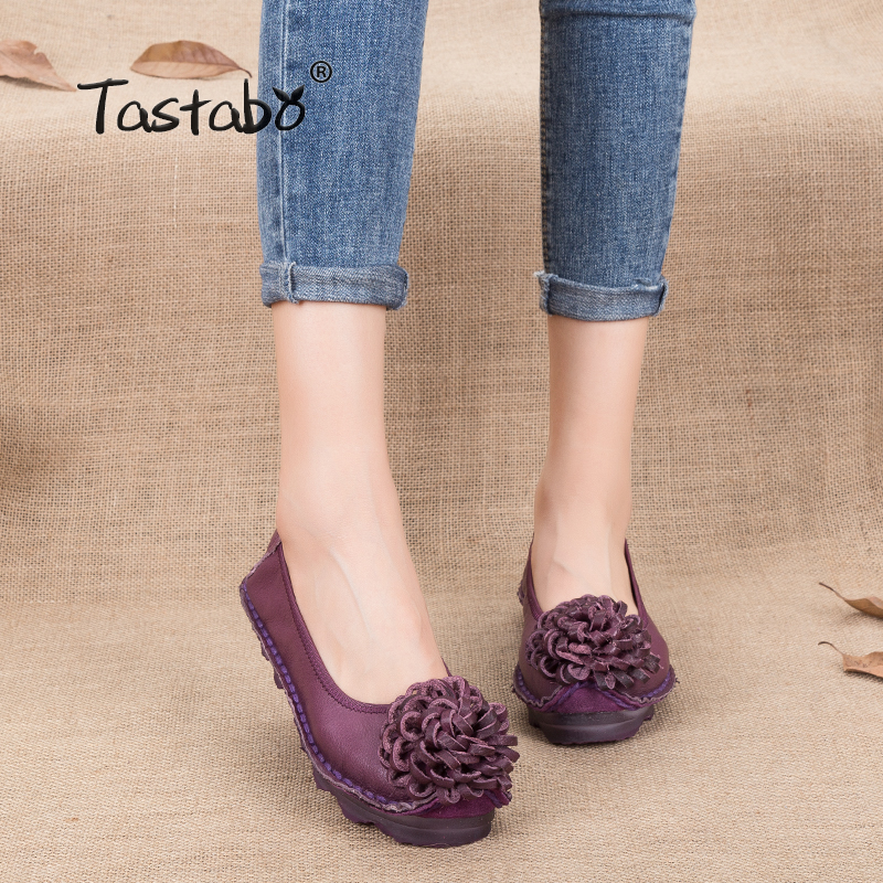 Tastabo Shoe Woman Flat Genuine Leather Women Breathable Brand Casual Shoes Loafers Fashion Flower Flats Moccasins Ladies Shoe цена