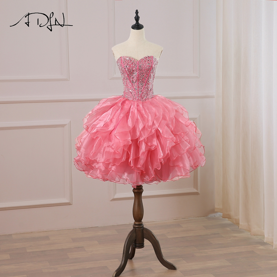 ADLN New Arrival   Cocktail     Dress   Sweetheart Sleeveless Sparkling Beaded Sequins Ball Gown   Cocktail     Dresses   Short Party   Dress