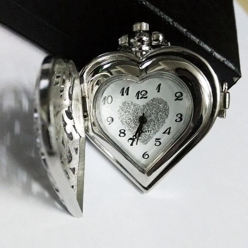 Elegant Hollow Heart Shape Quartz Fob Pocket Watch With Sweater Chain Necklace Gift For Women Girls  TT@88