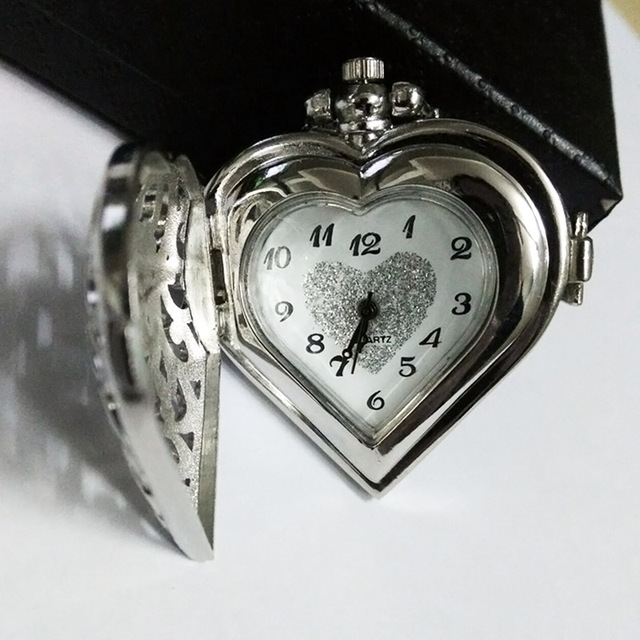 Elegant Hollow Heart Shape Quartz Fob Pocket Watch With Sweater Chain Necklace G