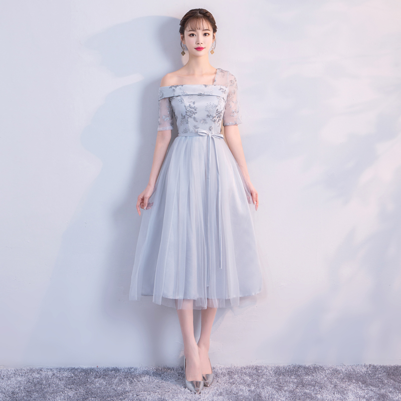 One Shoulder  Embroidery Grey Colour Midi  Dress  Wedding Party Dresses For Women  Bridesmaid Dresses