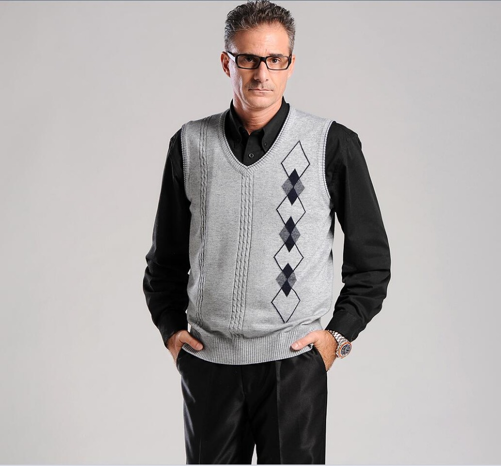 2017 autumn winter men casual wool sweater vest new fashion v neck ...