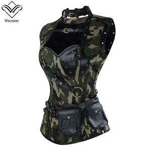 Image 3 - Wechery Army Green Corset Military Style Bustier Tops for Women Hollow Out Lace Up Corsets with Choker Camouflage Body Shapers