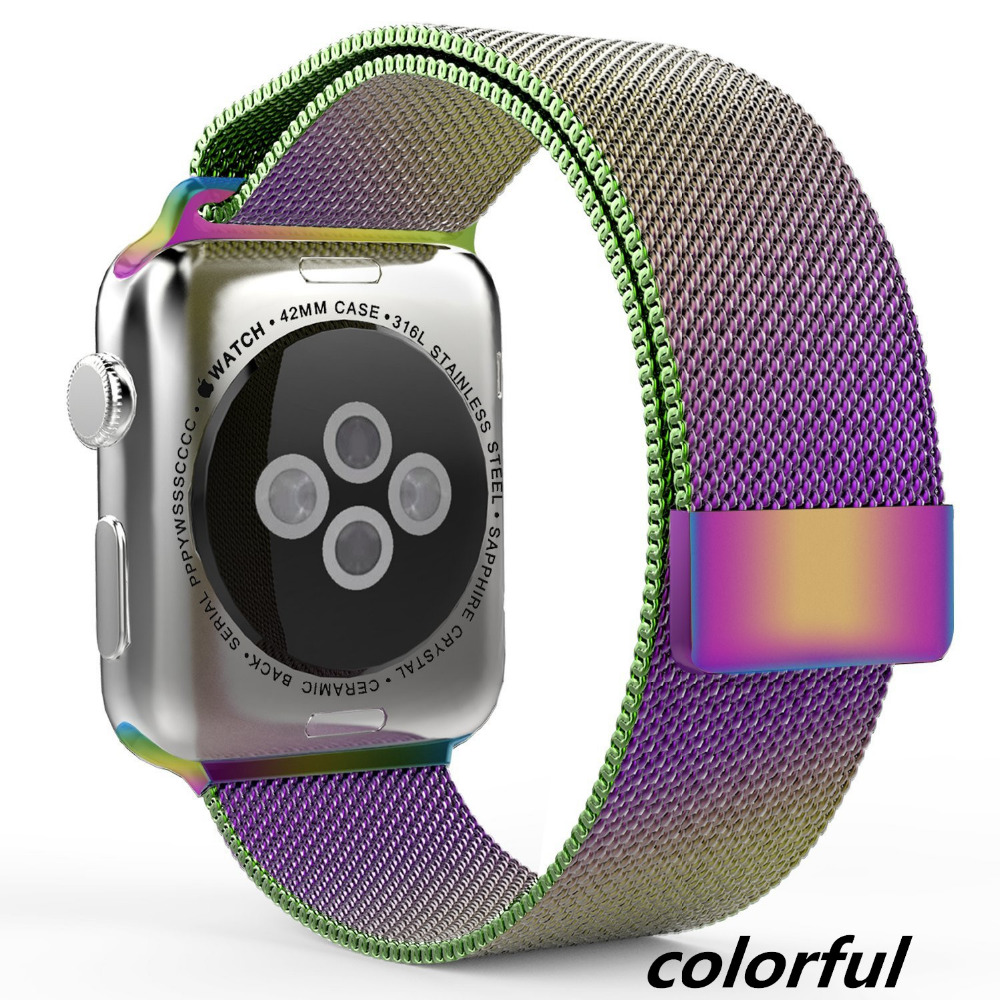New Fashion Colorful Coffee Milanese Loop band Link Bracelet Stainless Steel Strap for Apple Watch 42mm
