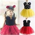 Precioso capa de aire de la correa vestido de la muchacha de minnie de dibujos animados para niños niñas vestidos para niñas de verano de algodón del otoño del resorte del vestido del bebé