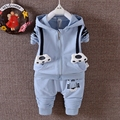 Spring Baby Boys Cotton Tiger Hooded Zipper Coat Jacket + Casual Trousers Kids 2pcs Suit Infant Clothing Sets roupas de bebe