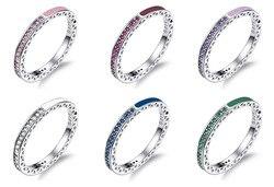 6 renkler yıldönümü yüzüğü Rhinestone avusturyalı renkli kristal Cz emaye 925 gümüş parti düğün Band yüzük kadınlar takı için