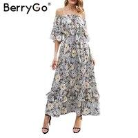 BerryGo Print Off Shoulder Summer Long Dress Women High Waist Ruffle Maxi Dress Elegant Boho Dress