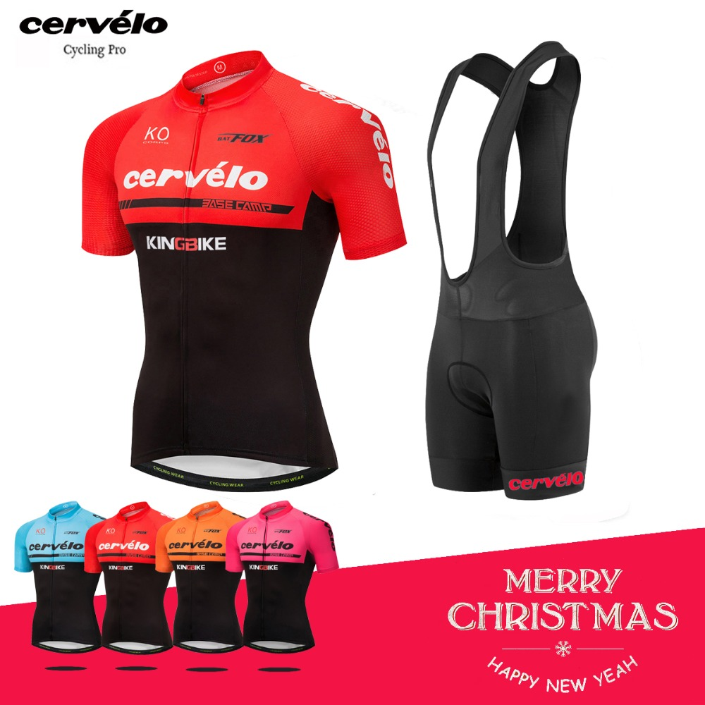 2018 Pro Mens Cycling Jersey Set Red Color Short Sleeve Ropa Maillot Ciclismo MTB Bike Clothes Anti-UV Cycling Clothing Kit