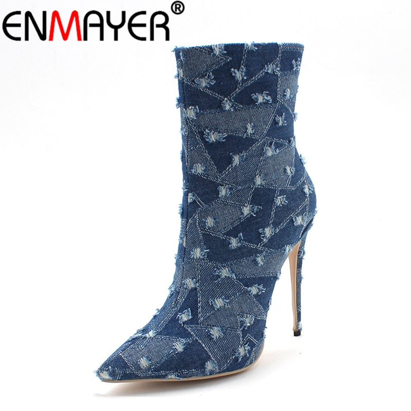 ENMAYER Fashion Denim Women Boots Extreme High Heels Pointed Toe Zippers Mid-Calf Retro All-match Party Shoes Winter Women Shoes zippers double buckle platform mid calf boots