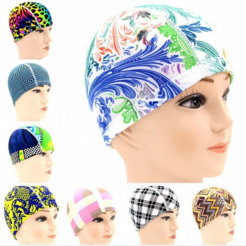 Swimming Cap Polyester Protect Ears Long Hair Sports Swim Pool Hat For Men Women Adults Print