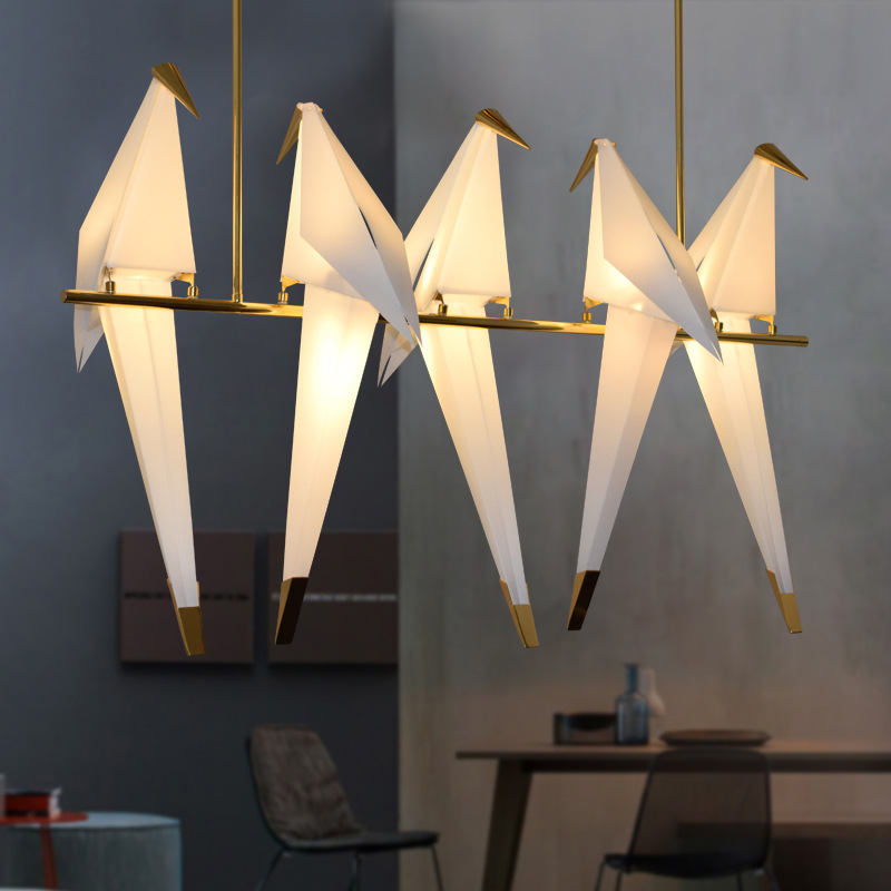 Gold Bird Cage Pendant Lamp Living Room Bedroom Origami Bird Light Kitchen Dining Room Paper House Hanging Lighting Fixtures