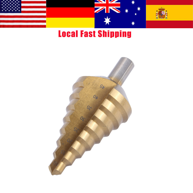 1Pcs HSS Step Cone Drill Titanium Bit Hole Cutter Steel Step drill bit 10-45mm Hot Sale Wholesale Local Fast Shipping hot 1pcs 12mm diameter hss step drill