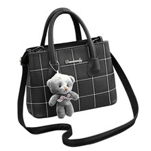 Female Zipper Women Handbag Shoulder Bags Tote Purse Cute Bear Pendant Leather Messenger Hobo Top Handle Bags Satchel цена 2017