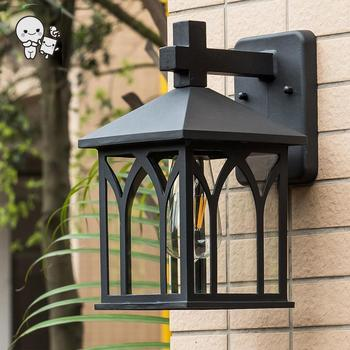 Outdoor Black Copper Aluminum Glass Shade E27 Bulb Wall Lamps Fixture Waterprooof Vintage European Porch Sconce Light for Yard