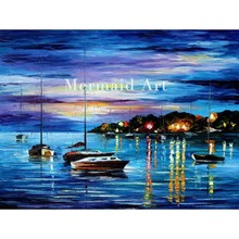 Hand Painted Landscape Abstract Mystery Of The Night Palette Knife Modern Oil Painting Canvas Wall Living Room Artwork Fine Art