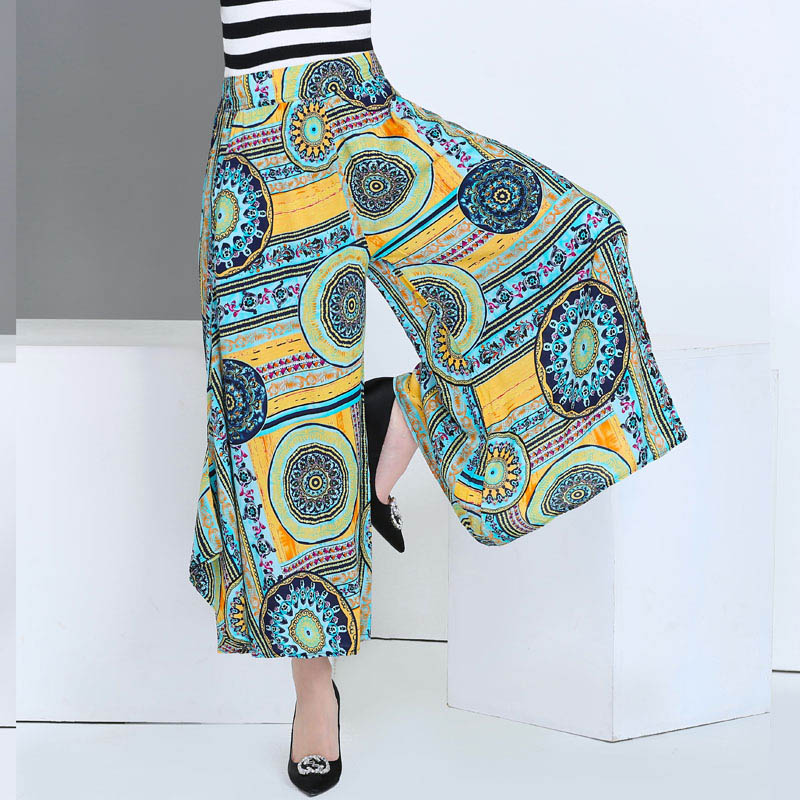 2017 summer runway casual harem flare high waist loose floral Wide leg pants women clothing print Vintage trousers plus size