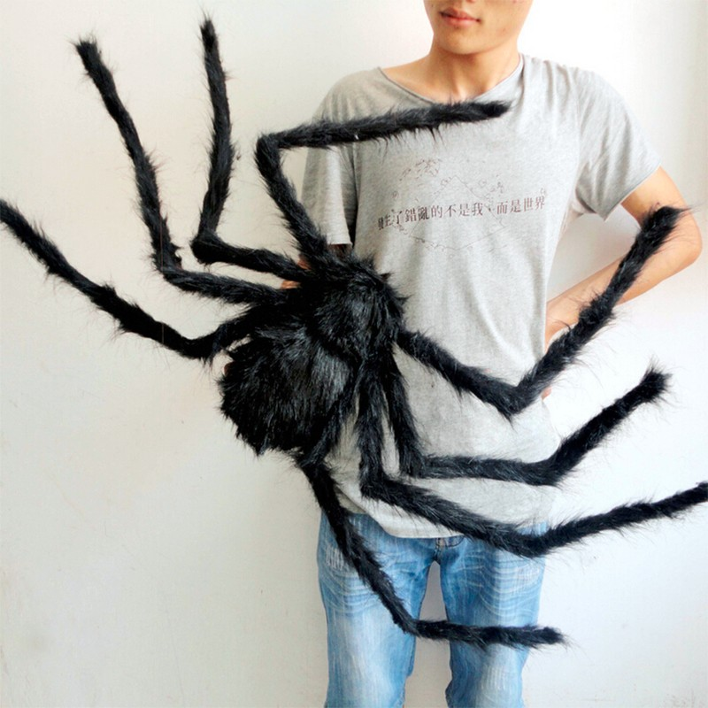 Soft Black Plush Spider Funny Toy Scary Red Eyes For Halloween Decoration Party Stage Horror Props Prank Joke Scary Toys