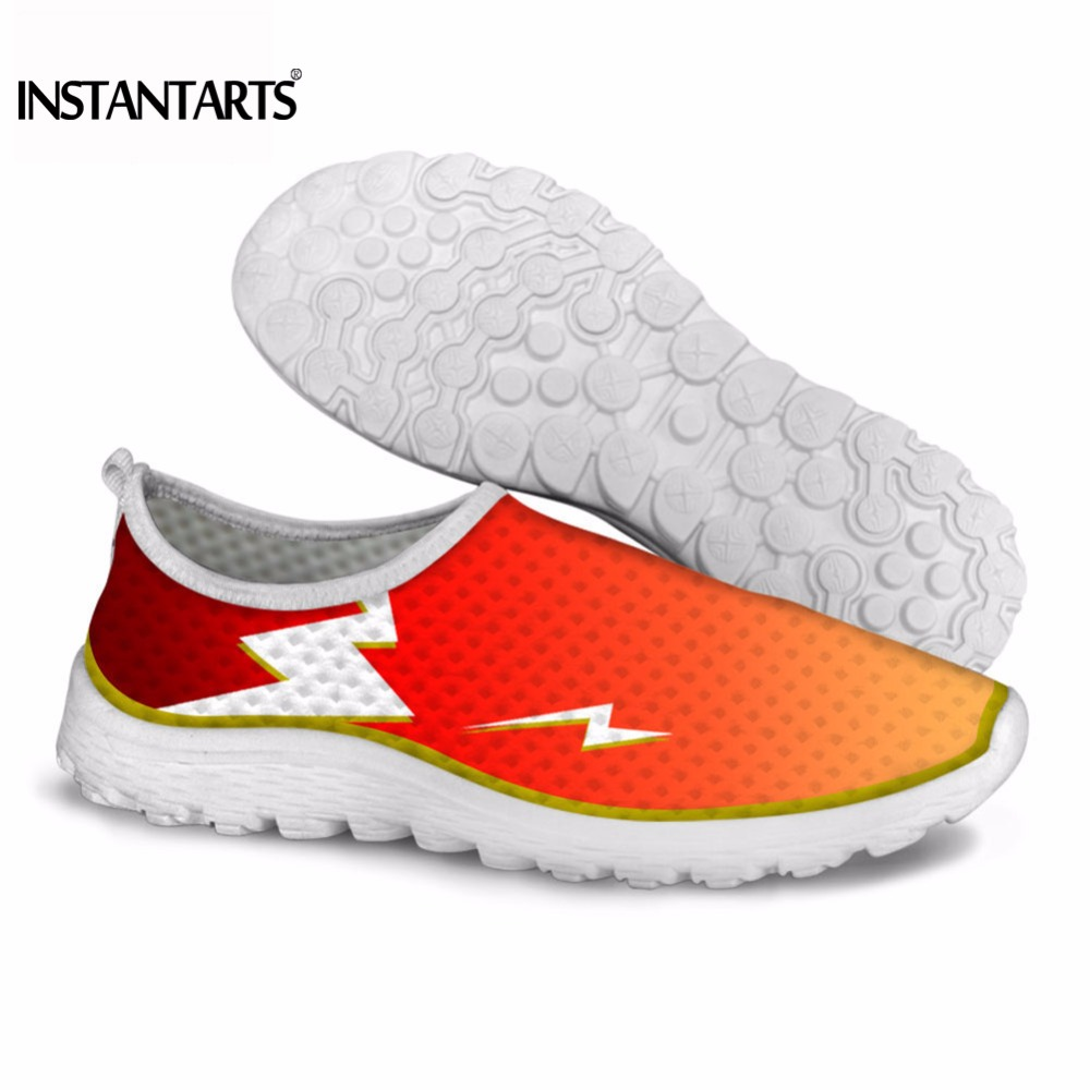 INSTANTARTS Casual Women Girl Sneakers Breathable Light Mesh Flats Shoes for Woman Red Yellow Green Print Mujer Tenis Puls Size instantarts cute glasses cat kitty print women flats shoes fashion comfortable mesh shoes casual spring sneakers for teens girls