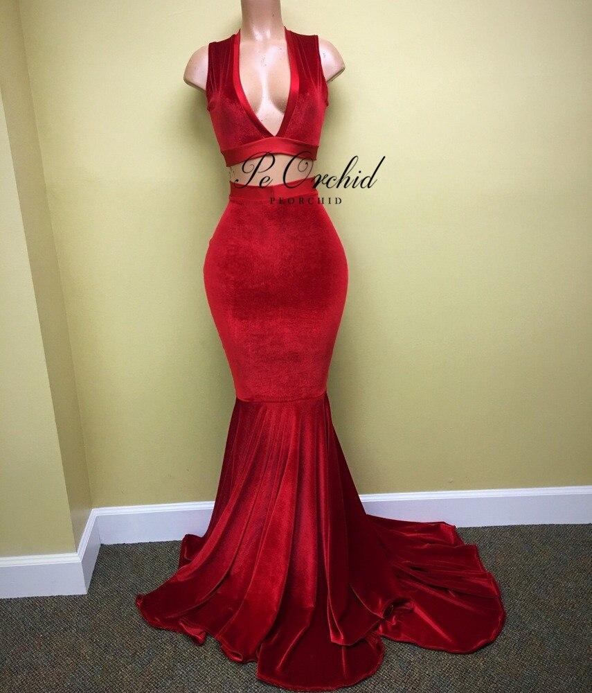PEORCHID/красные сексуальные платья для выпускного вечера из двух предметов, глубокий v образный вырез, Vestido Fiesta, вечернее длинное черное бархат... - 3