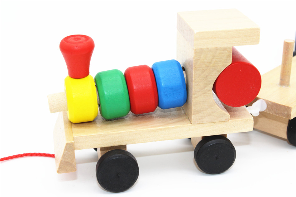 SUKIToy classic wooden models building toys blocks train for children boys Montessori game for kids gift shape matching 6