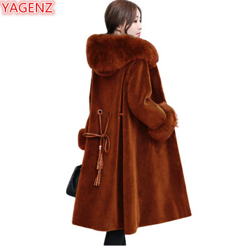 YAGENZ New product Women Faux Fur Coat Top quality Winter Jacket Women Young lady Fur collar Hooded Woolen coat Long Jacket 697