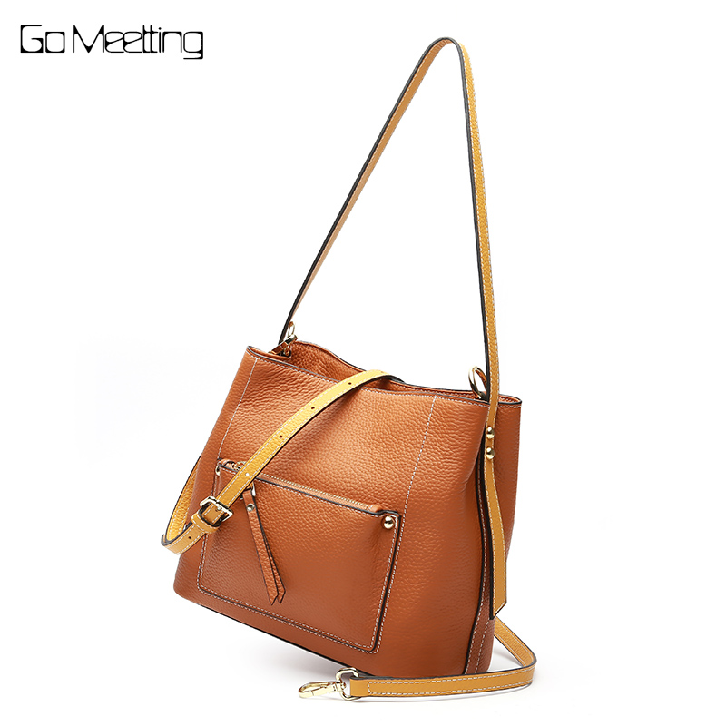 Go Meetting Women Shoulder Messenger Bags Genuine Leather Handbag Female Fashion Crossbody Bag Ladies Solid Tote Bag sac a main стоимость