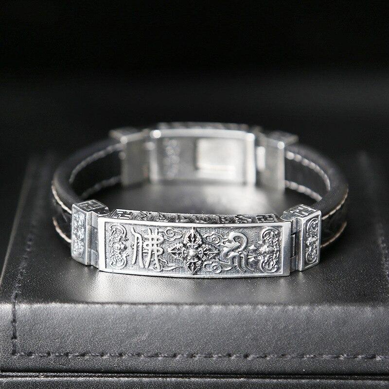 S925 Thai argent lourd Bracelet pour hommes hommes S925 en argent Sterling Bracelets Bracelets hommes bijoux cadeau d'anniversaire en argent cuir-in Charme Bracelets from Bijoux et Accessoires    3
