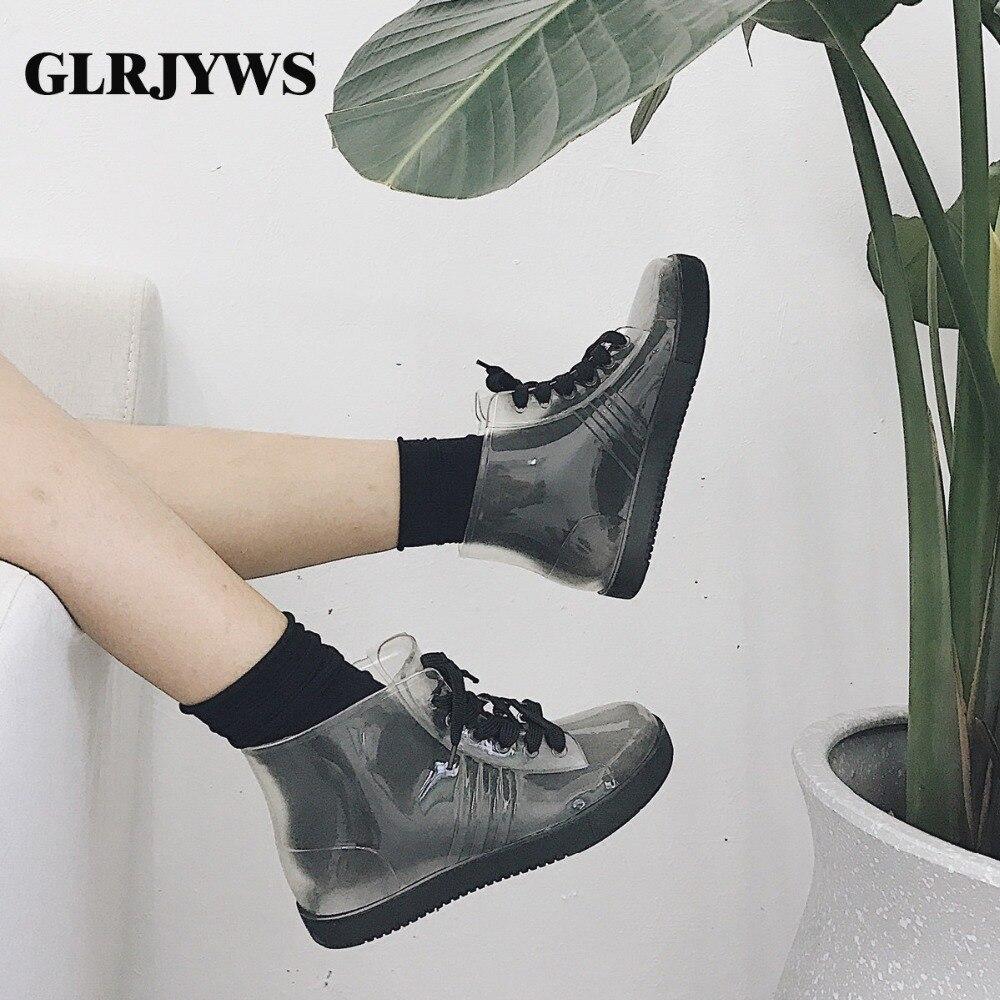 Nouvelles Bottes De Pluie En Dentelle De Corée Du Sud, Chaussures Pour Femmes à Tube Court, Jolies Bottes Antidérapantes Transparentes, étudiants Avec Des Bottes De Pluie