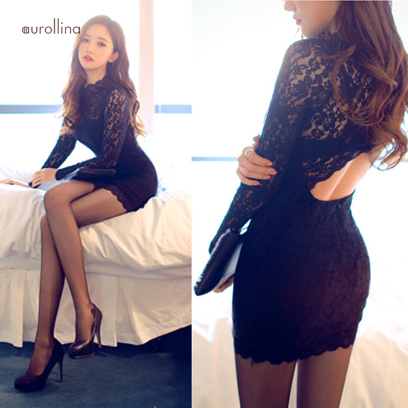 Black Hollow Out Lace Dress Charming Female Curve Party Outfit Formal Mini Skirt (7)