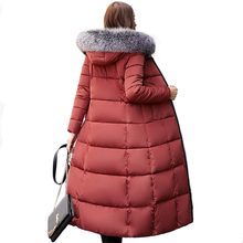 new High Quality Hooded With Fur Women Winter Jacket Womens Jackets Long Cotton Padded Warm Female Coat Long Coats Parka 2018 цена