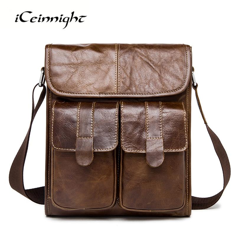 ФОТО iCeinnight Genuine Leather Men Bags Fashion Brand Designer Handbags Shoulder Vintage First Layer Cowhide Bags Men Messenger Bags