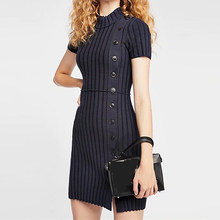 American Style Women Knitted Short Sleeve Solid Sheath Mini Dress O-neck Elegant Women Skinny Bodycon Front Button Mini Dress(China)