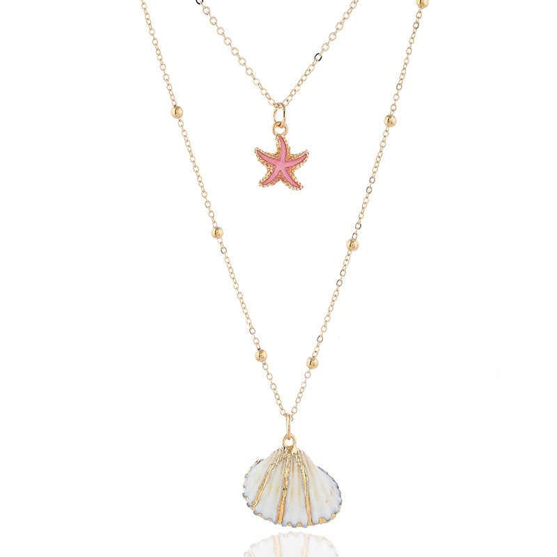 X175 جديد البحر شل متعدد الطبقات قلادة Summe شاطئ بوهو مجوهرات النساء بيان القلائد 2019 أزياء نمط