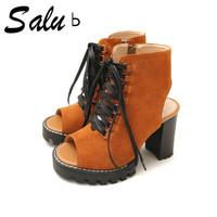 Salu 2018 new Ladies Real Leather High Heels Sandals Genuine leather Party Club Summer Shoes Women Concise Daily Footwear S